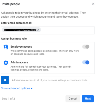 Invite people to Facebook Business Manager